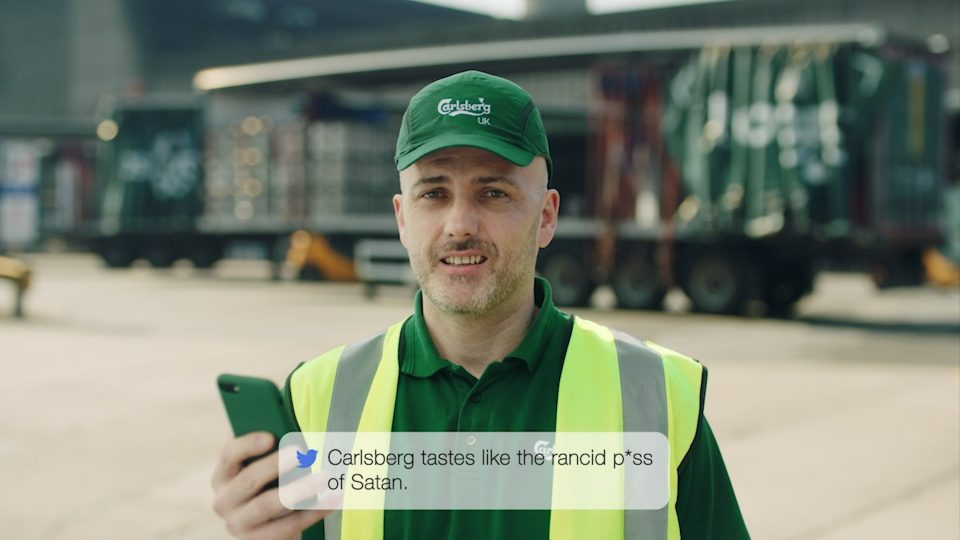 Preview image for a video called Mean Tweets directed by Richard Pengelley for Carlsberg