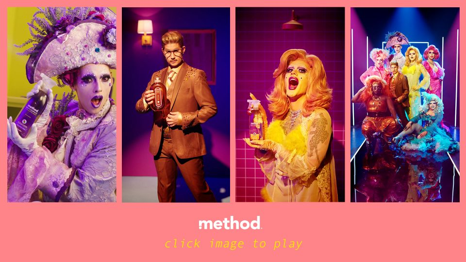 Preview image for a video called Drag Cleans directed by Ben & Alex for Method